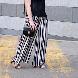 H&M striped culottes pants striped 4 cropped